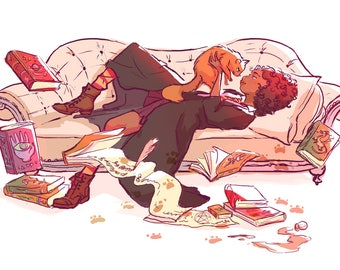 Hermoine and Crookshanks Print