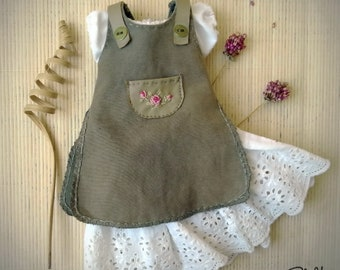 Waldorf doll dress for 10/ 11/ 12/ 13/ 14/ 15/ 16/ 17/ 18 inch doll - Pinafore with blouse and underskirt for doll - American girl- bjd doll