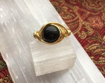 Wire Wrapped Ring, Obsidian Ring, Gold Ring
