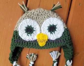 906ad7fd2fd Little boy Owl Hat - Newborn to Toddler Owl Hat - Crocheted Owl Hat - Kids  Owl Hat