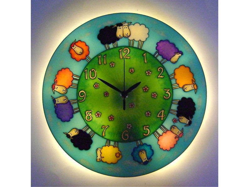 Sheep Lighted Wall Clock Lamb Wall Decor Silent Large Glass Paniting Kids  Clock Happy Sheep Decor Animal clock Farm Decorations Country Art