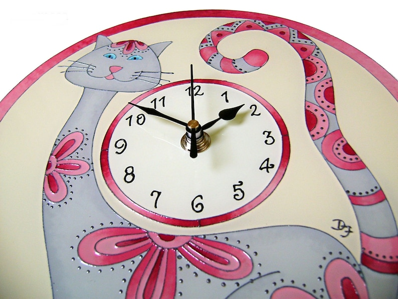 Cat Wall Clock, Funny Cat Home Decor, Cat Lover Gift, Rose and Grey Kids Room Decor