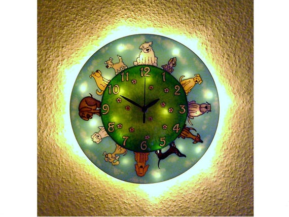 Doggies Lighted Wall Clock, Night Light and Large Dog Wall Clock, LED Mood  Lighting, Dog Owner Gift,