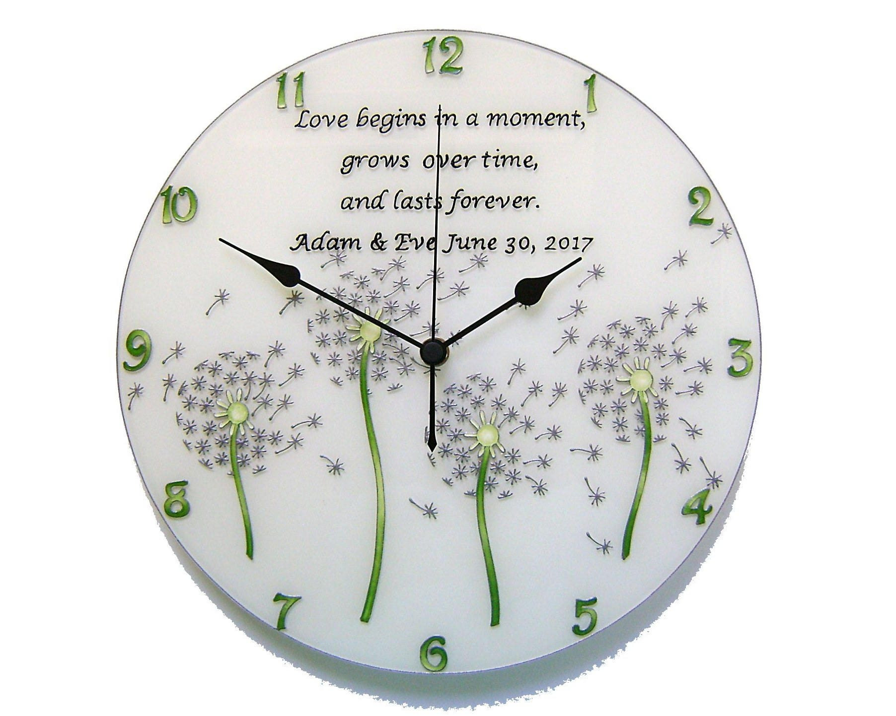 Wedding Gift Clock: Dandelion Wall Clock Personalized Wedding Gift For Couple