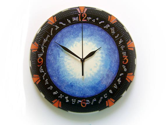 Stargate Wall Clock with Light, Gift for Stargate Fans, Stargate Wall  Decor, Unique, Large, Silent Glass Painting Clock,