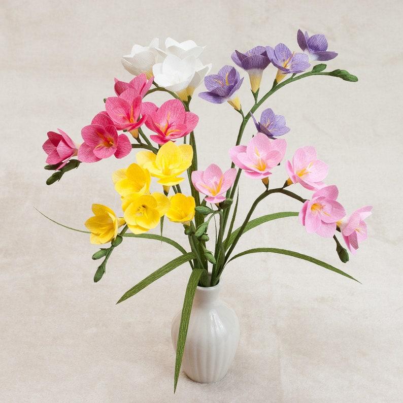 Freesia Single Stem Crepe Paper Fresia Crepe Paper Flowers Paper Flowers Anniversary Birthday Home Decor Office Decor Spring