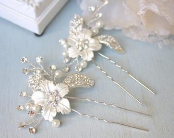 0434769001 Silver, Rhinestone, Bridal hair accessory, Bridal hair pin, Wedding hair  accessory, Rhinestone flower accessory