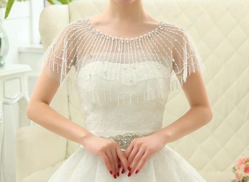 Bridal crystal and pearl beaded Bolero Wedding dressBridal image 0