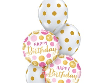 Pretty in Pink and Gold Balloons, Birthday Balloons, Polka Dot Balloons, Party Balloons, Clear Polka Dot Balloons, Pkt of 5 Balloons