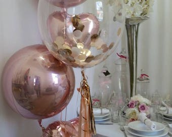 """Rose Gold Confetti Clear Bubble Balloon 24"""" with Balloon Tassles DIY kit or Rose Gold Confetti & Bouquet Kit, Confetti Balloons"""