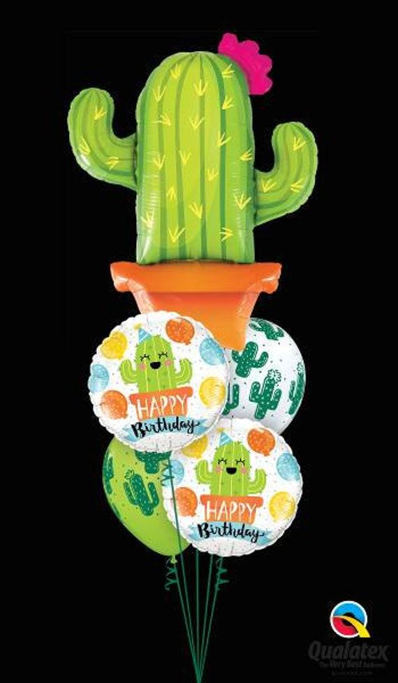 Cactus Balloon Birthday Bouquet, Cacti, Cactus, Fiesta, Balloons, Mexican, big Cactus balloon, Cactus balloon mix, Pkt of 5 Balloons