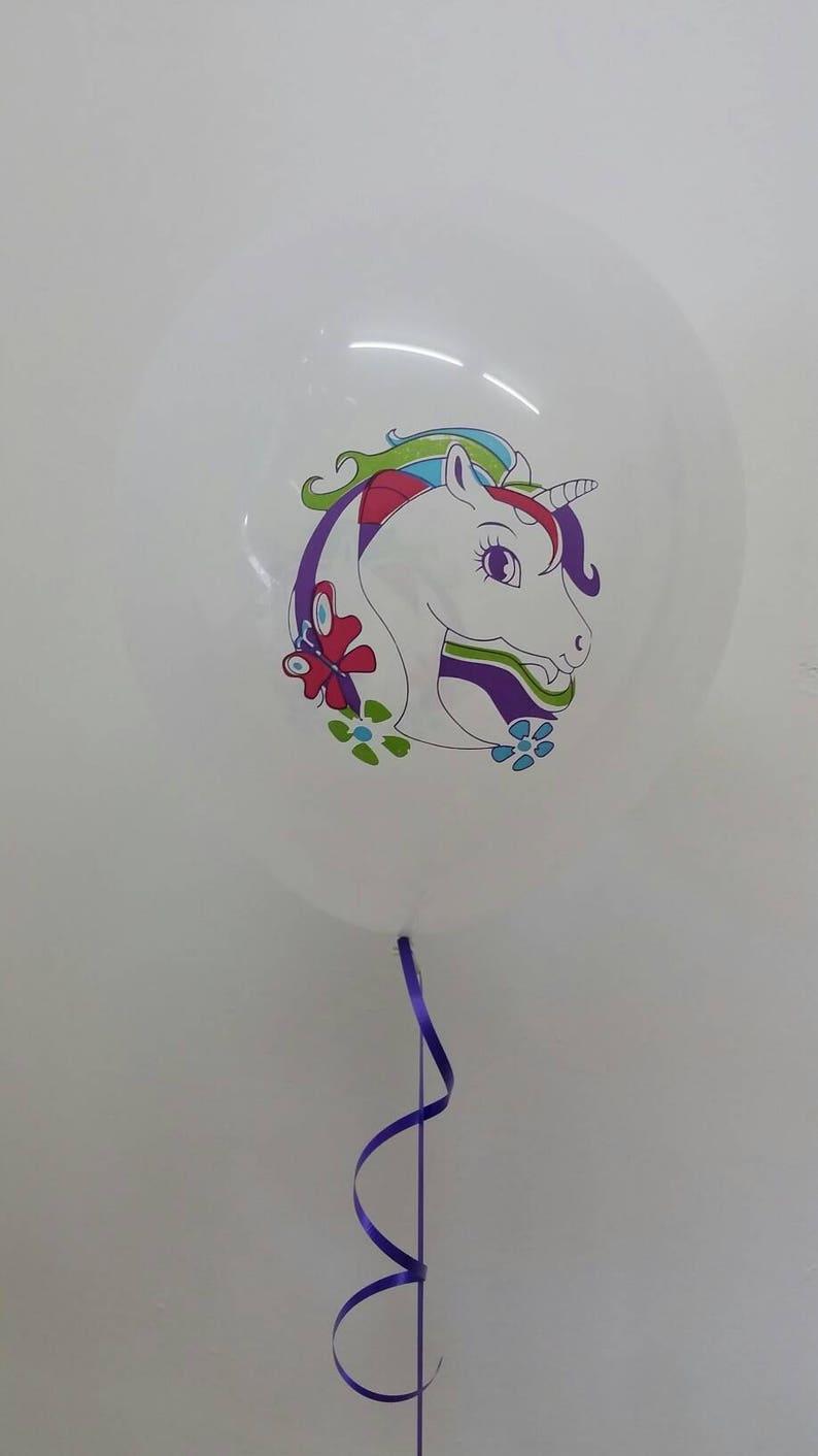 Colourful Unicorn Print on white balloon Unicorn Party Decoration Pkt of 3 balloons Unicorn Balloons Unicorns