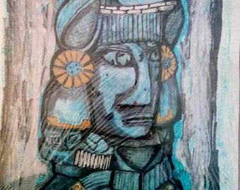 Mayan Statue Painting