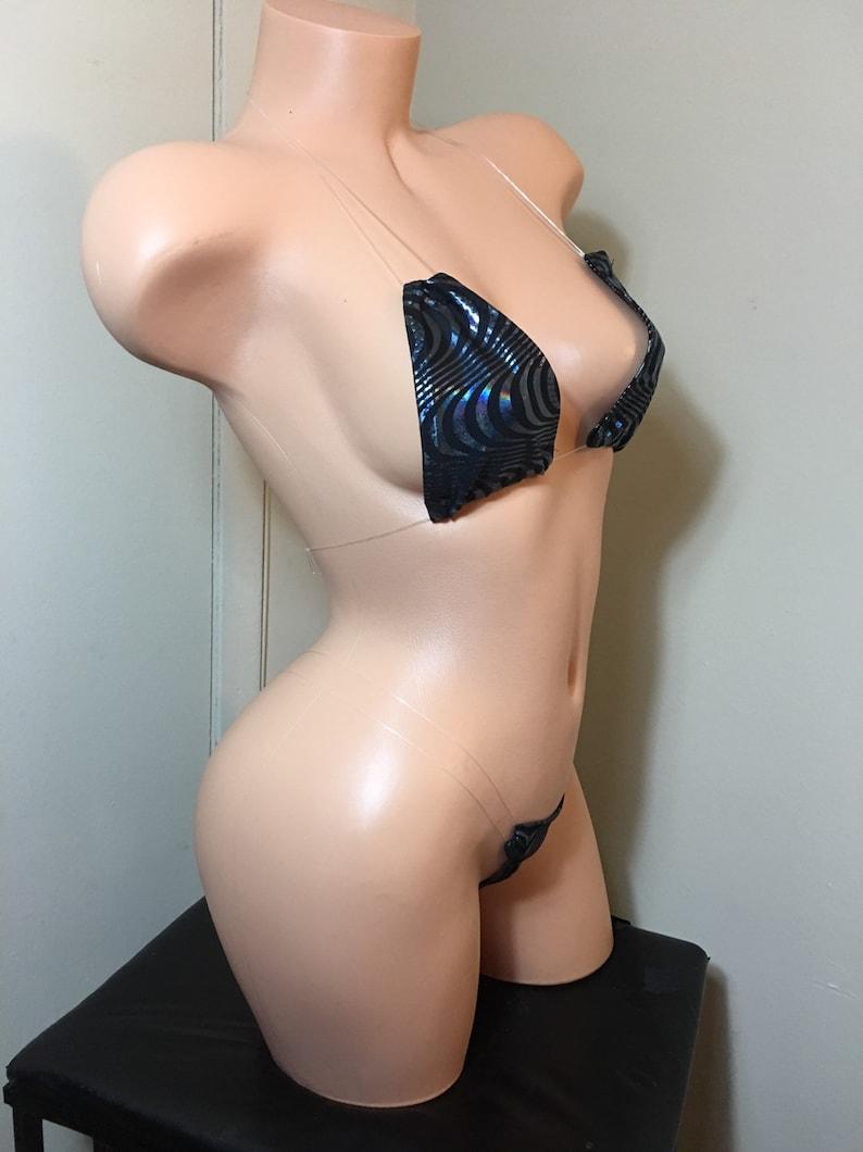 NKaneDesigns Black Silver Velvet Clear String Bikini Custom Exotic Dancewear OS