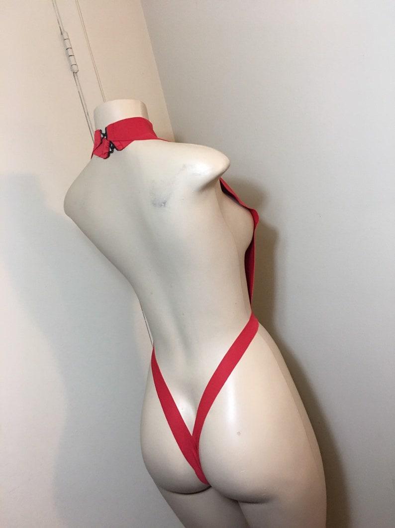 Custom Exotic Dancewear Red Neoprene One Piece Bodysuit medium NKaneDesigns