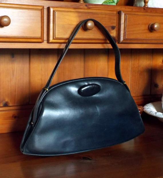 Vintage Waldybag navy leather boxy top handle hand