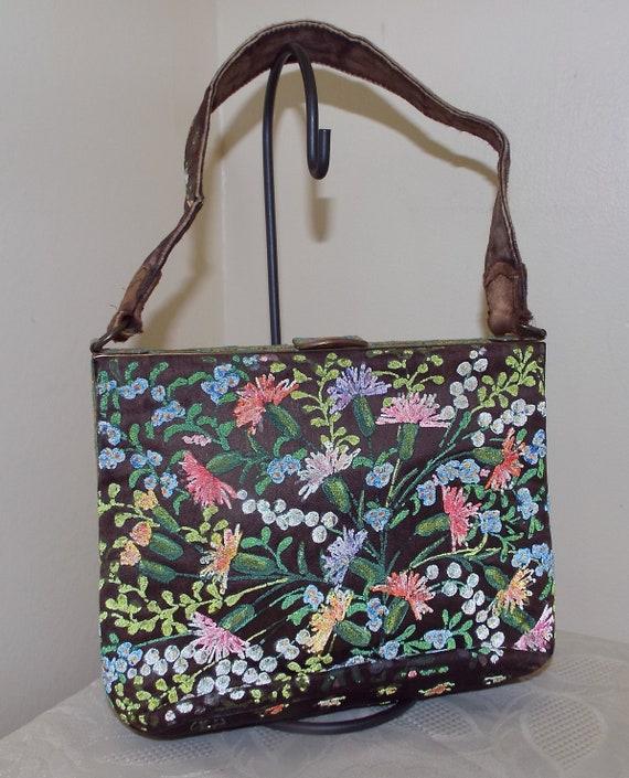 Vintage Waldybag handpainted handbag with tiny gla