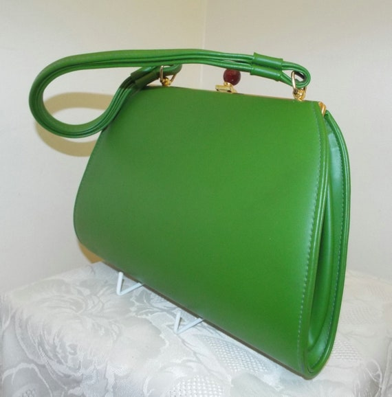 Vintage bright green vinyl handbag