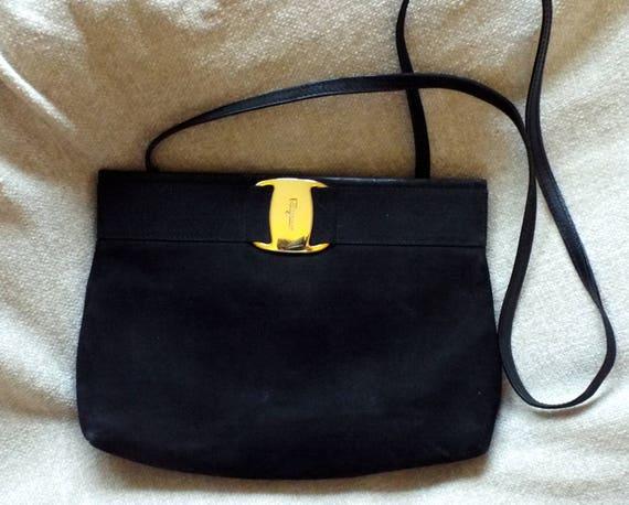 c9339ce3d689 Salvatore Ferragamo black suede evening bag clutch purse