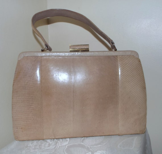 Vintage Mappin and Webb blonde reptile kelly bag