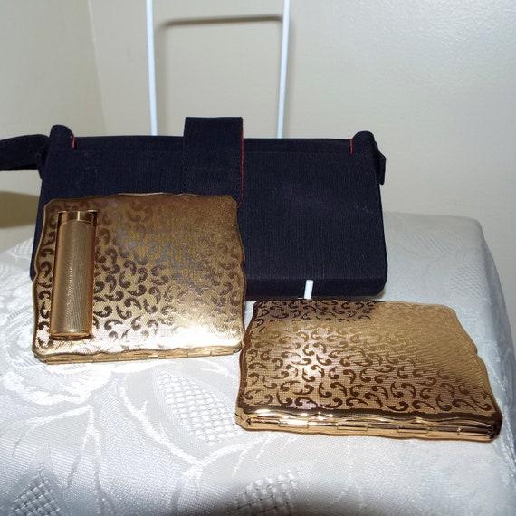 Vintage Stratton black party case, compact minaudi