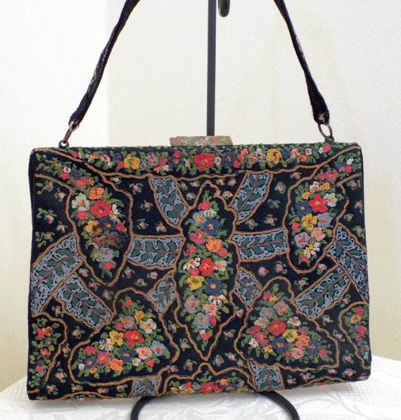 Vintage Waldybag black satin handpainted handbag c