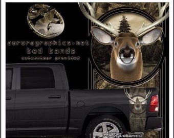 American flag oak camouflage deer skull hunting truck bed band vinyl graphic set
