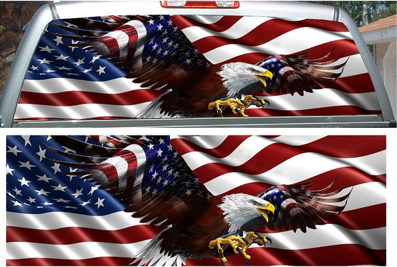 Flying bald eagle American Flag rear window view thru graphic decal wrap