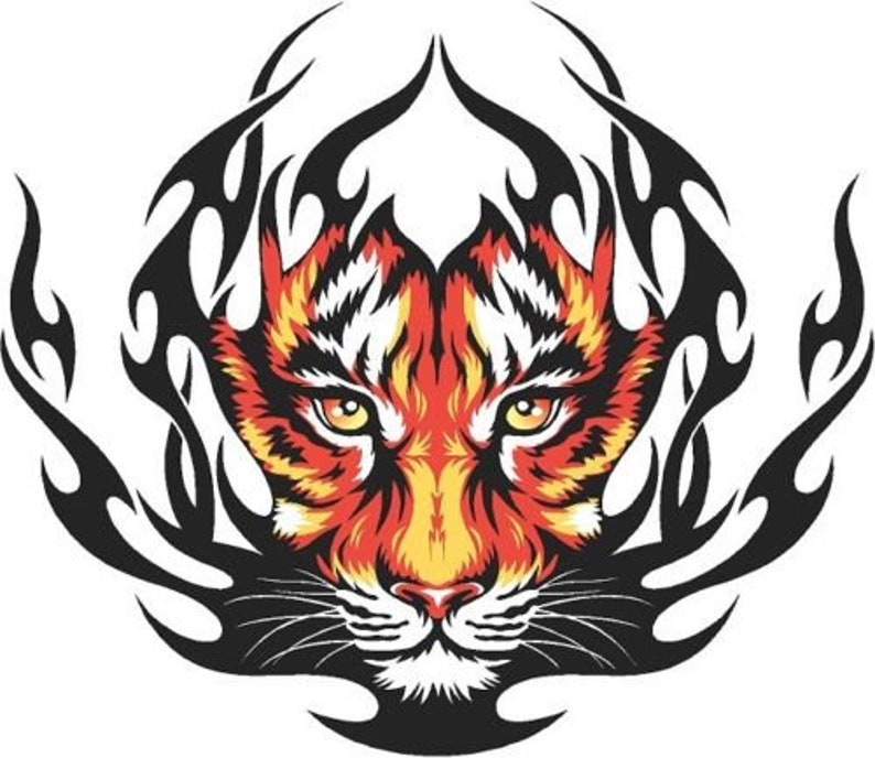 afd82c2073 Tiger flames ripped cornhole board game vinyl graphic decal
