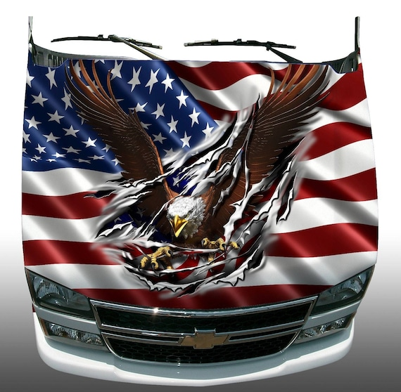 Eagle mountain wood frame decal Camper RV motor home mural graphic size large