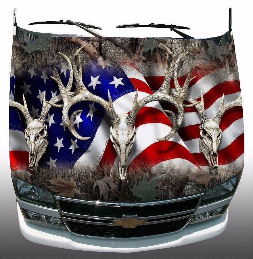 Oak camo american deer skull hunting Hood Wrap Sticker Vinyl