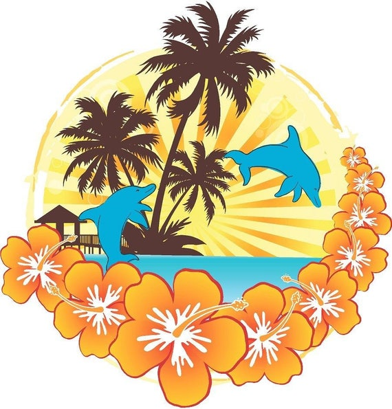 Dolphins tropical fish seascape porthole decal Camper RV motorhome mural graphic