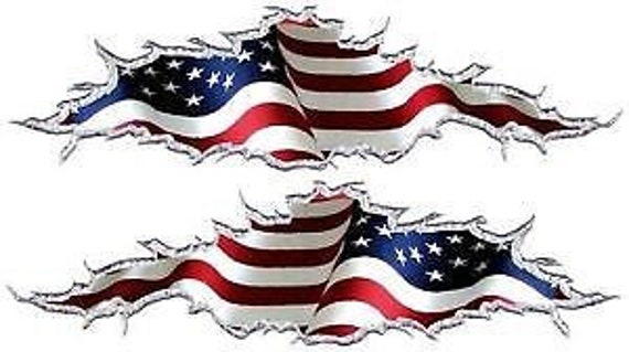 American flag ripped motorcycle go kart race car truck semi vinyl graphic decal