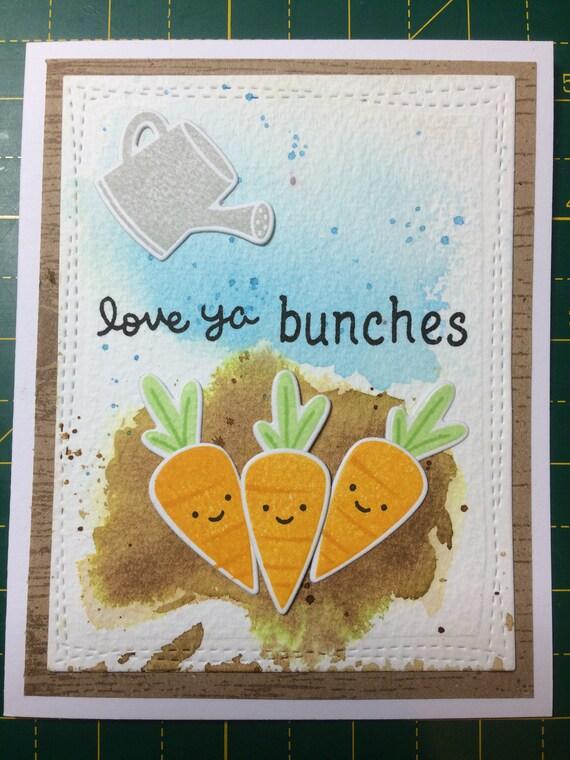 Love Ya Bunches Handmade Veggie Carrot Card. Customisable