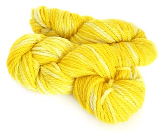 Midnight Weave Co Hand Dyed Yarn - Aran weight fine merino wool - One Mini Skein (at least 25g each) - SUNSHINE