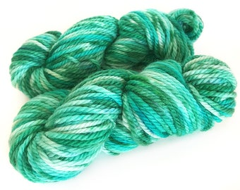 Midnight Weave Co Hand Dyed Yarn - Aran weight fine merino wool - One Mini Skein (at least 25g each) - MINTY