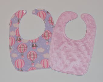 Baby Girl Bib Elephant Hot Air Balloon with pink minky back