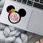 Minie Mouse Monogram Decal - Disney Themed Laptop and Cell Phone Decal - Disneybound - Mickey Mouse Ears Design