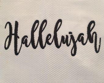 Hallelujah embroidery design, hellelujah calligraphy embroidery design,embroidery design
