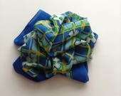 Vintage Silk Scarf, Retro Scarf. Blue Flowered Scarf, Check Scarf, Silk Scarf Gift for Mom.