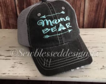 bf56b076433 Mama Bear Hat  Embroidery Mama   Mothers Day Gift   Bear  Trucker Hat   Mesh  Hat   Bridal Gift  Gifts for her  Mom Squad  Bear Hat  Mama
