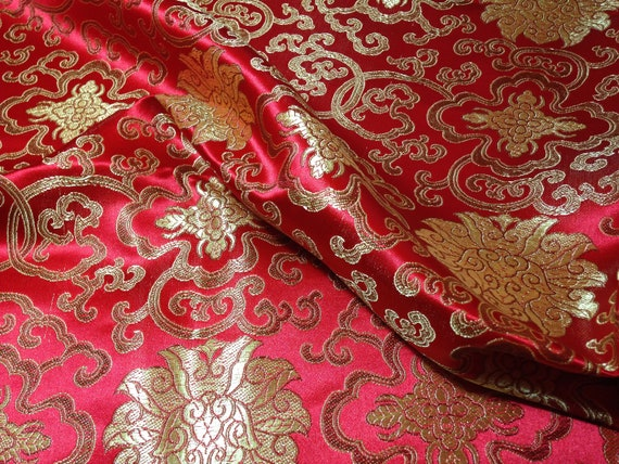 24d95c4b3 Chinese satin brocade in Red & Gold ONE yard of bright red   Etsy