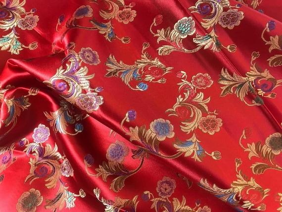 Chinese satin brocade in Red /& Gold Tibetan flower brocade ONE yard of bright red satin brocade fabric 1 yd. Chinese brocade