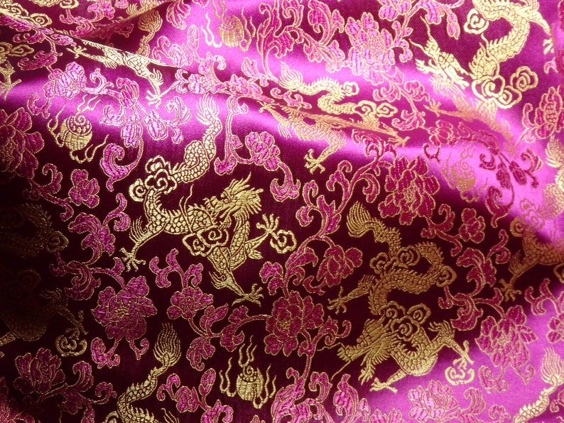 031ef3255 Chinese brocade fabric in berry pink with gold dragons ONE   Etsy