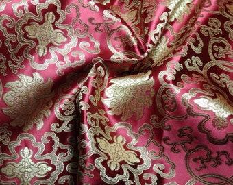 Chinese satin brocade in DARK ROSE & Gold - ONE yard of deep red/pink satin brocade fabric, Tibetan flower brocade, Chinese brocade - 1 yd.