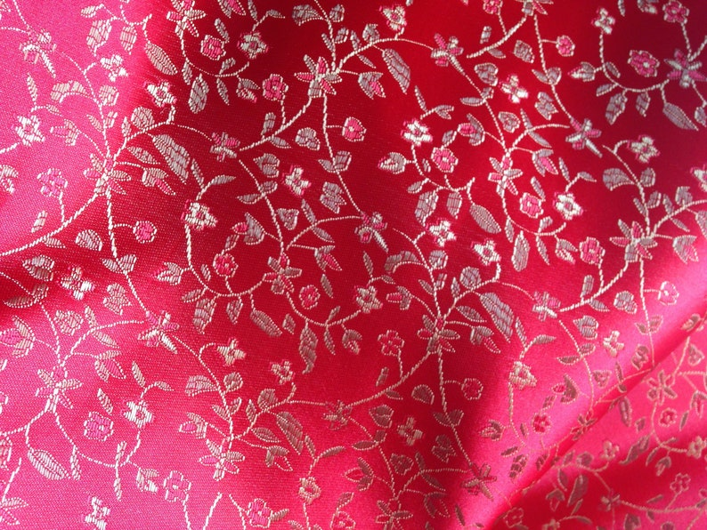 7e8996a87 Chinese brocade fabric in bright red with a floral pattern in   Etsy