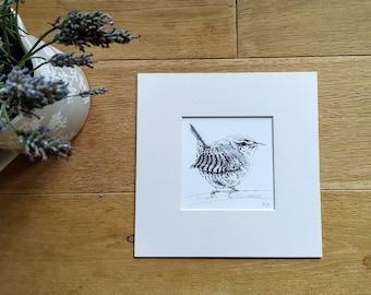 Wren print, Wren picture, Wren art, Wren gift, Bird wall art, Gift for birdwatcher.