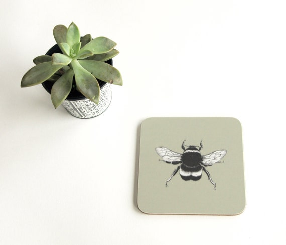 Glass Coaster Animal Gift Gift under £5 Stocking Filler Bumble Bee