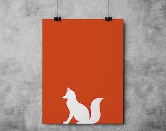 Orange Fox INSTANT DOWNLOAD Fox, Forest, Nature Print, Downloadable - Original Illustration Fine Art Quality Print 4 DOLLARS Printable diy