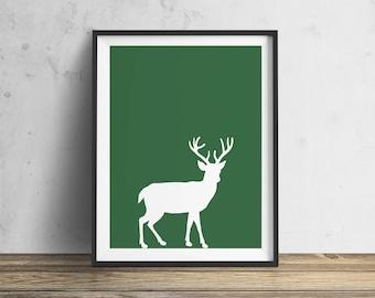 Green Deer INSTANT DOWNLOAD Forest, Animal,  Nature Print, Downloadable - Original Illustration Fine Art Quality  4 DOLLARS Printable diy